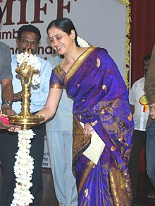 Renowned Tamil Film Director, Shri Bharathiraja lighting the lamp to inaugurate the 13th Mumbai International Film Festival, in Chennai. Actress, Smt. Devayani Rajakumaran, the Vice Consul of Consulate General of Russia (cropped).jpg