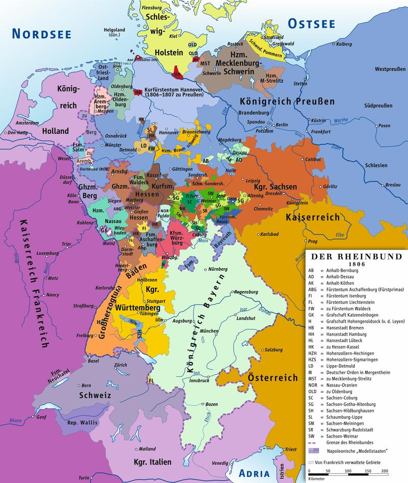 Rheinbund 1806, political map.png