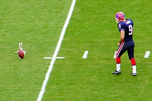Placekicker - Rian Lindell of the Buffalo Bills prepares for a practice field goal kick