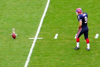 Placekicker - Rian Lindell of the Buffalo Bills prepares for a practice field goal kick