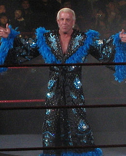 An American wrestler with short blond pompadour-styled hair wearing a blue and black robe poses in the middle of a wrestling ring.