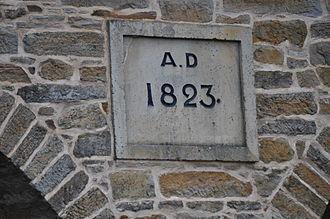 Richmond Bridge (Tasmania) - The stone set in the bridge showing construction started in 1823.