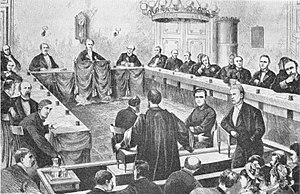 Landsting (Denmark) - The Danish court of Impeachment, Rigsretten, during a session in the Landsting Chamber, Christiansborg Palace, 1877.