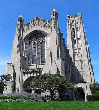 Rockefeller Chapel - Front view of the Rockefeller Chapel.