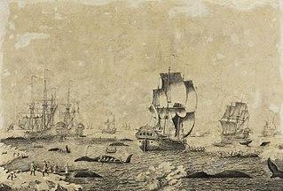 Penschilderij met walvisvaart in bedrijf