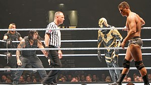 The Shield (professional wrestling) - Rollins and Reigns lost their WWE Tag Team Championship to Cody Rhodes (far right) and Goldust (right)