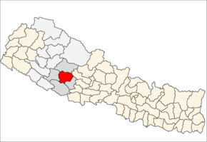 Rolpa District i Rapti Zone (grå) i Mid-Western Development Region (grå + lysegrå)
