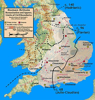 Romano-British culture - Relative degrees of Romanisation, based on archaeology. Romanisation was greatest in the southeast, extending west and north in lesser degrees. West of a line from the Humber to the Severn, and including Cornwall and Devon, Roman acculturation was minimal or non-existent.