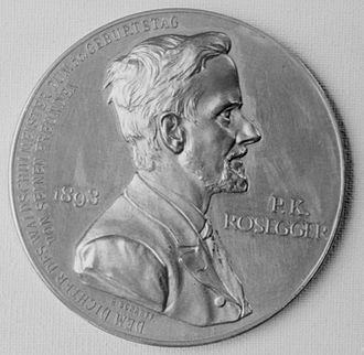 Peter Rosegger - Medallion made to honor Peter Rosegger's 50th birthday in 1893.