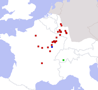 Rosmerta - Map showing the location of inscriptions dedicated to Rosmerta (in red), as well as to Cantismerta (green) and Atesmerta (blue).