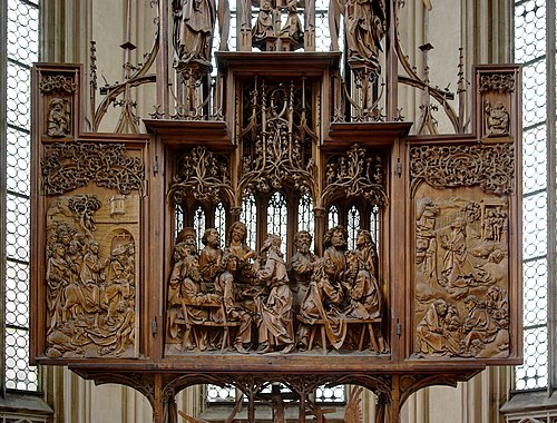The Altarpiece of the Holy Blood, by Tilman Riemenschneider (1501-1505). An example of an altarpiece with a central, sculpted section and relief wings. Rothenburg BW 16.JPG