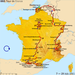 2001 Tour de France - Route of the 2001 Tour de France