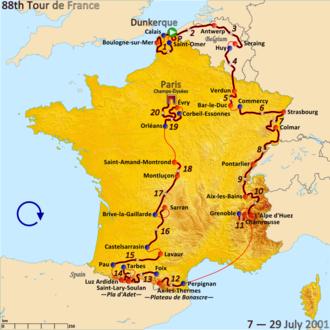 2001 Tour de France, Prologue to Stage 10 - Route of the 2001 Tour de France