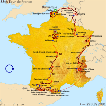 Map of France with the route of the 2001 Tour de France