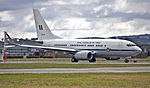 Royal Australian Air Force (A36-002) Boeing 737-7DF BBJ on the main runway at the Canberra Airport.jpg