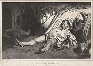 The massacre of the rue Transnonain, Paris, on 14 April 1834, depicted by the caricaturist Honoré Daumier.