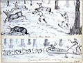 Running them down; Hauling the meat in with dogs - Fort Babine 1875.jpg