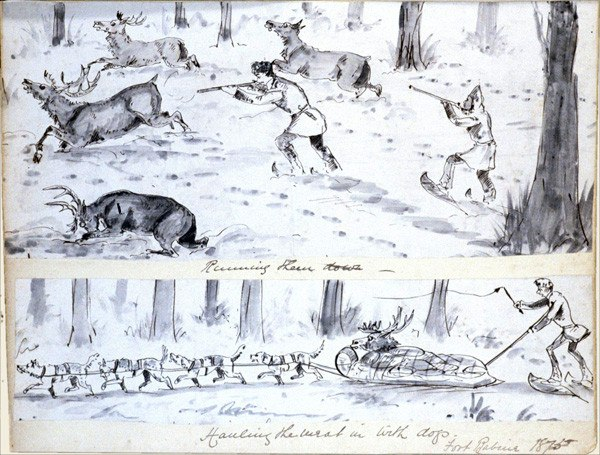 Running them down; Hauling the meat in with dogs - Fort Babine 1875