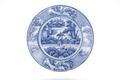 Runt fat av fajans och blå kinesiserande underglasyrmålning med landskap, figurer och parasoll - Skoklosters slott - 93335.tif