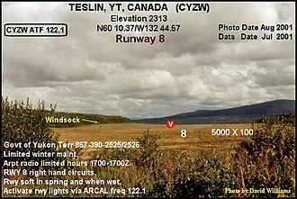 Teslin, Yukon - Image: Runway 8, Teslin airport, Yukon