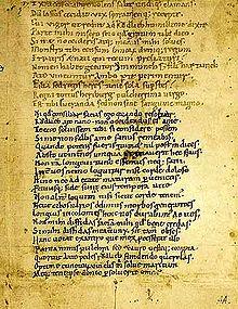 Una pagina del Codex Latinus Monacensis 4550 o Codex Buranus