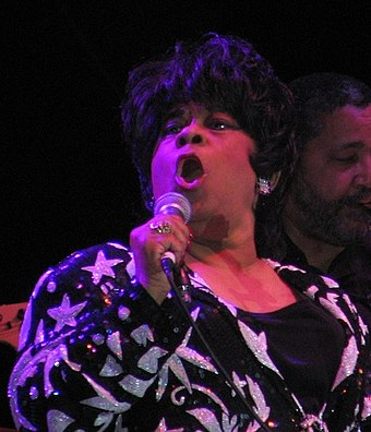"American singer Ruth Brown has been referred to as the ""Queen of R&B"". Ruth Brown cropped.jpg"
