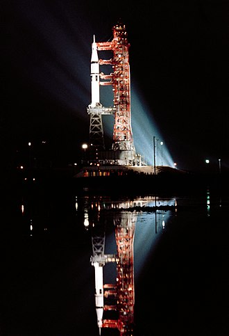 Skylab - Skylab 3's Saturn IB at night, July 1973