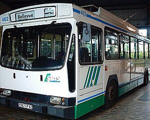 Société de Transports de l'Agglomération Stéphanoise - A Renault ER100 trolleybus at Saint-Priest-en-Jarez.