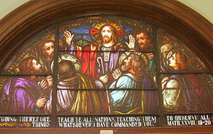 Great Commission - The Great Commission, stained glass window, Cathedral Parish of Saint Patrick in El Paso, Texas