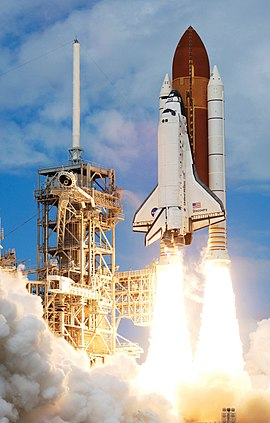 സ്പേസ് ഷട്ടിൽ Discovery begins liftoff at the start of STS-120.