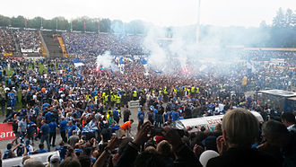 Promotion and relegation - SV Darmstadt 98 fans celebrated promotion to the German Bundesliga in 2015.