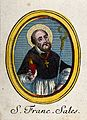 Saint Francis of Sales. Coloured etching. Wellcome V0033299.jpg