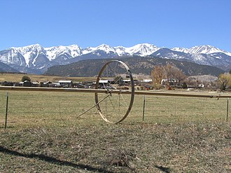 Chaffee County, Colorado - Salida, Colorado with Sangre de Cristo Range in background