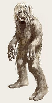 A drawing of a shaggy looking humanoid creature. It has a round mouth with small sharp teeth. The inside of the creature's fingers have suckers on them like an octopus.