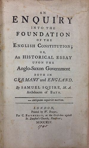 Samuel Squire - Image: Samuel Squire, An Enquiry into the Foundation of the English Constitution (1745, title page) 20141127