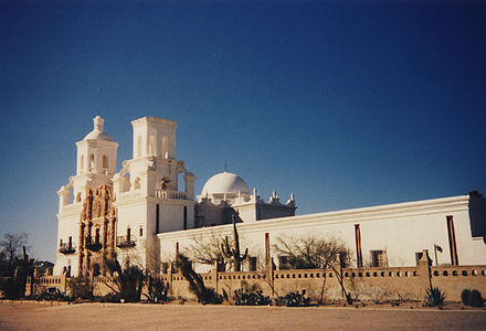 Mission San Xavier del Bac,est. 1692 in the Sonoran Desert, Viceroyalty of New Spain.