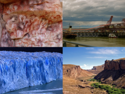 Clockwise from top: Cueva de las Manos, Harbour of Río Gallegos, Río Pinturas, Perito Moreno Glacier (Los Glaciares National Park)