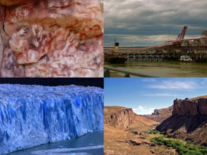 Santa Cruz Province, Argentina - Clockwise from top: Cueva de las Manos, Harbour of Río Gallegos, Perito Moreno Glacier (Los Glaciares National Park), Río Pinturas