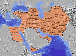 The Sasanian Empire at its greatest extent c. 620, under خسرو پرویز *   Normal domains *   Greatest temporary extent during Byzantine–Sasanian War of 602–628