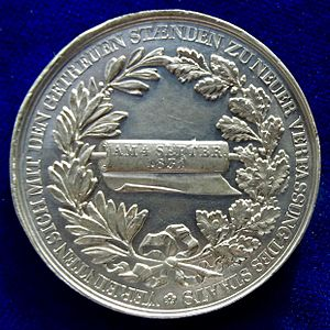 Anthony of Saxony - Pewter Medal of the new constitution, reverse.