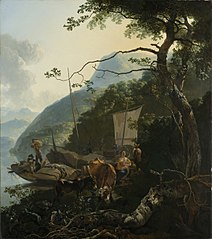 Boatmen Moored on the Shore of an Italian Lake