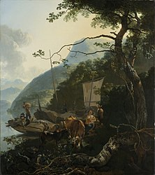 Adam Pynacker: Boatmen Moored on the Shore of an Italian Lake