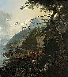 Adam Pynacker: Boatmen Moored on the Shore of an Italian Lake
