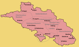 Silesian German - Historical area of distribution of the Silesian German
