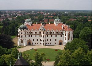 Celle Castle - View from Celle town church of Celle Castle and its parks