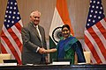 Secretary Tillerson Shakes Hands With Indian Minister of External Affairs Swaraj After a Joint Press Availability (37216021094).jpg