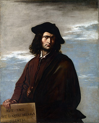 "Salvator Rosa - Salvator Rosa, Philosophy, 1640. The Latin inscription is ""Keep silent or say something better than silence"". National Gallery, London"