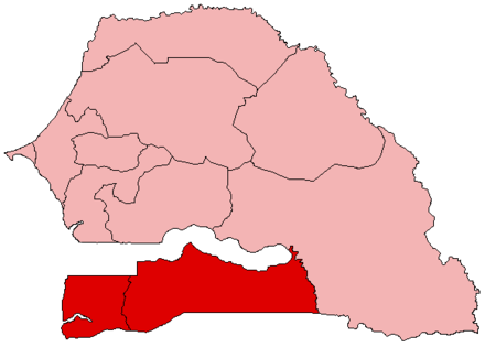Map of the Casamance region (dark red) as part of wider Senegal Senegal Casamance.png