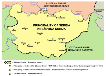 Principality of Serbia in 1817 Serbia1817.png