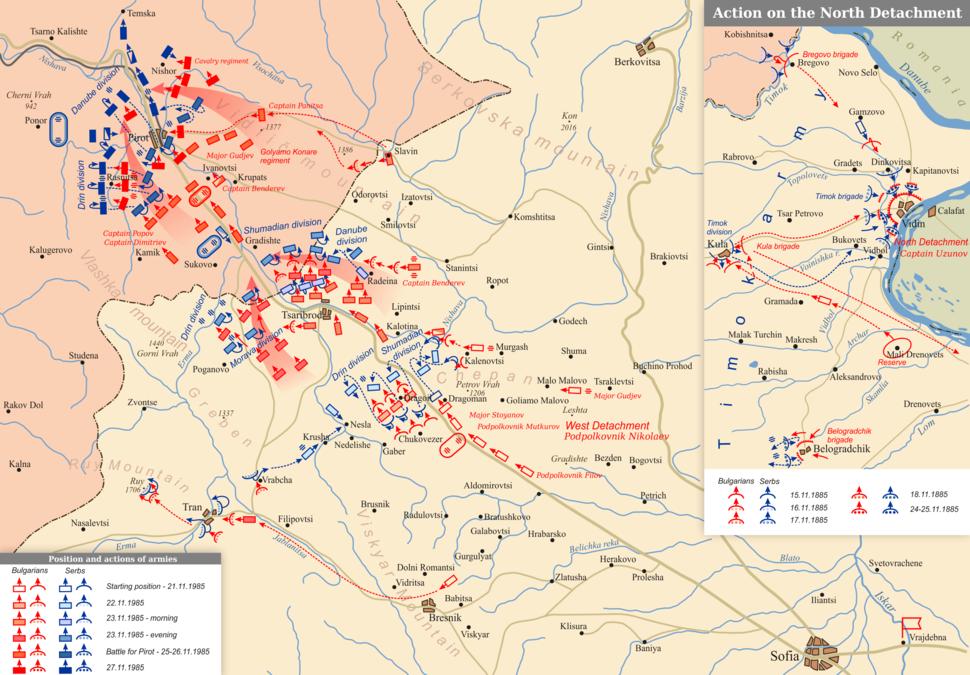 Serbo-Bulgarian War. Counteroffensive of the Bulgarian Army (22-27.XI.1885)